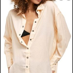 NWT Free People All Smiles Button Front Top
